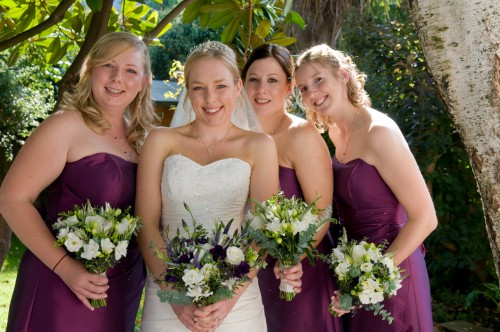 bridesmaid-bouquets-white-rose-freesia-lisianthus
