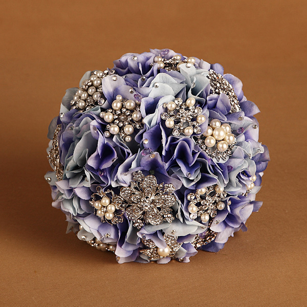 DIA-22CM-Free-Shipping-Hand-made-Hydrangea-Pearl-Crystal-brooch-bridal-wedding-bouquet-flower-Decor-DIY