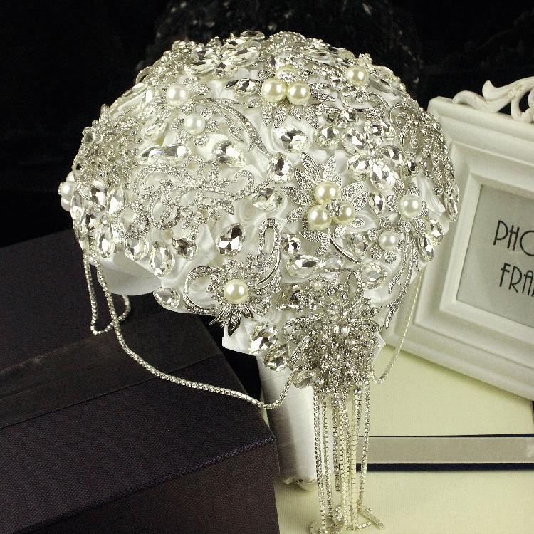 Fashion-Wedding-Bridal-Bouquet-Luxuries-Elegant-Brooch-Rhinestone-Crystal-Pearls-DIY-Bride-Flower-Home-Wedding-Party