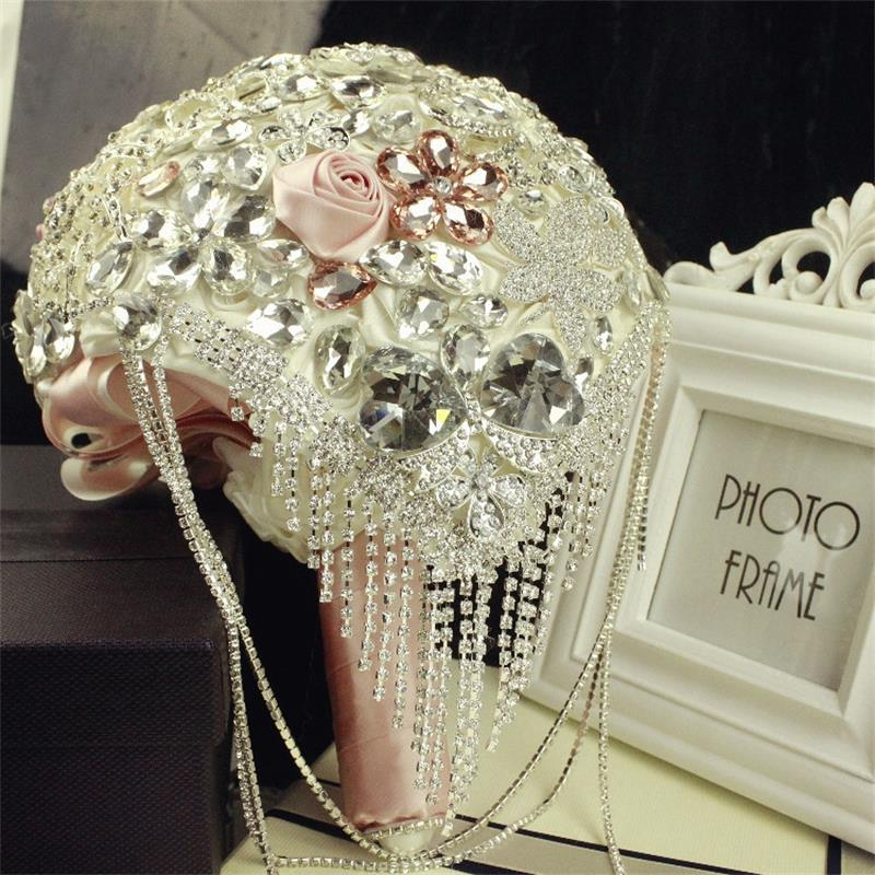 Fashion-Wedding-Bridal-Bouquet-Luxuries-Elegant-Brooch-Rhinestone-Crystal-Pearls-DIY-Hand-Flower-Home-Wedding-Party