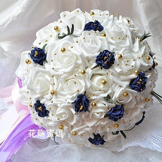 Free-shipping-High-end-custom-the-bride-hand-bouquet-pearl-wedding-bouquet-Beige-Korean-handmade-wedding