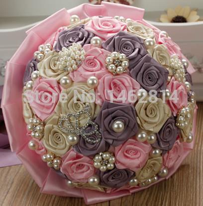 Free-shipping-diamond-pearl-DIY-manual-hand-bouquet-ribbon-rose-bride-wedding-bouquet-bridesmaid-hand-bouquet