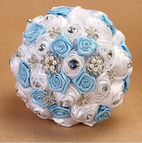 -HANDMADE-Bridal-Wedding-Bouquet-Silk-Pearl-White-Sky-Blue-Rose-Flower-Decorate-Decor-Sweety-Love