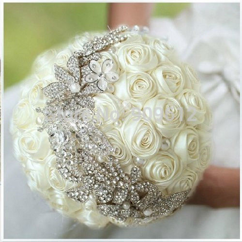 Hand-Made-Color-White-Ivory-Blue-Satin-Rose-Flower-font-b-Pearl-b-font-Rhinestone-crystal