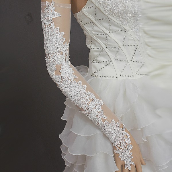 Hot-Sale-New-Fashion-Slimming-Long-Design-Fingerless-White-Lace-Bridal-font-b-Wedding-b-font