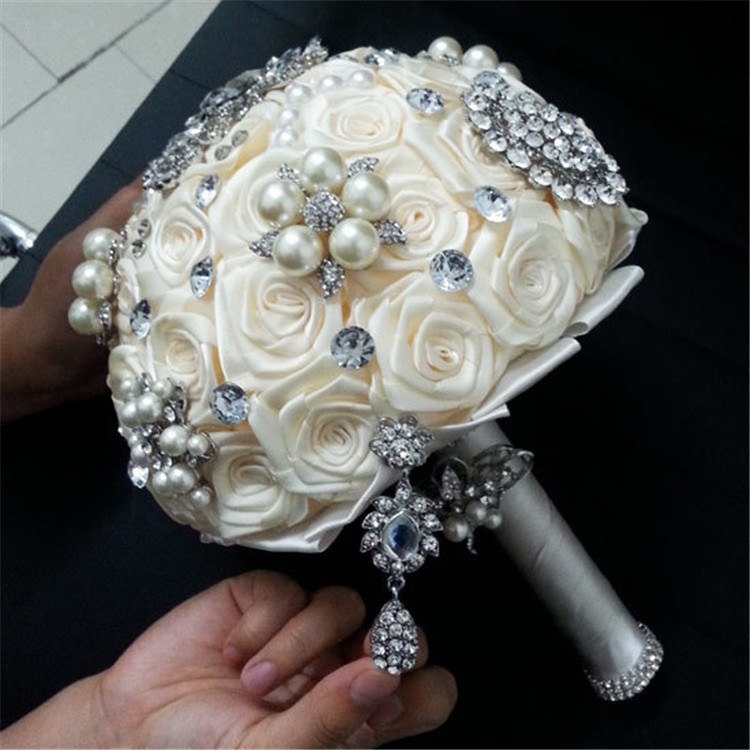 Wedding-Flower-Bridal-Bouquet-Luxurious-Elegant-Brooch-Rhinestone-Crystal-Pearls-DIY-Hand-Flower-Home-Wedding-Party